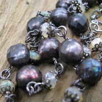 Welo Opal Necklace, Faceted Dyed Brown FWC Pearls, Oxidized Sterling