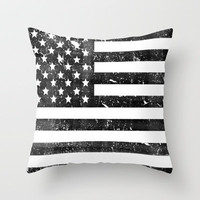 Dirty Vintage Black and White American Flag Throw Pillow by RexLambo | Society6