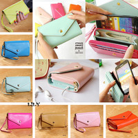 7 Colors Envelope Wallet Case Purse Samsung Galaxy S2 S3 Iphone 4 4S Phone Bags