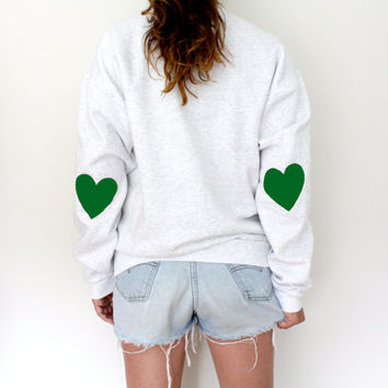 Elbow Heart Sweatshirt  Green by MFjewels on Etsy