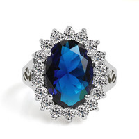 Super huge Blue Diamond Retro Palace middle or forefinger Ring with 18K Gilded