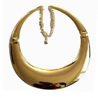 Gold-tone Round Chunky Collar Necklace