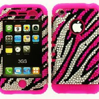 Amazon.com: Hybrid 2 in 1 Case Protector Hard Cover Faceplate Skin Pink Silicone and Crystal Zebra pattern Rhinestone Snap on for Apple Iphone 3 3g 3gs Phone: Cell Phones & Accessories