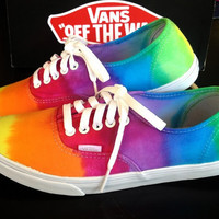 RAINBOW VANS SALE Studded Rainbow Tie Dye by LivingYoungDesigns