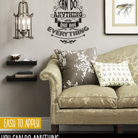 Vintage Style Quote Wall Decal, Vinyl Wall Lettering, You Can Do Anything But Not Everything - David Allen - QK006