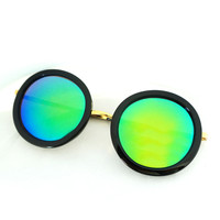 Retro Black Mirror Lens Sunglasses