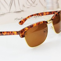 Leopard retro metal sunglasses