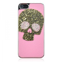 3D Metal Skull Bling Crystal Rhinestone Leather Case For iPhone 5