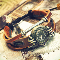Wristwatch Handmade Wrist Watches Vintage Ladies Girls Womens Mens Leather Bangle Beaded Bracelet Quartz (GA0016)