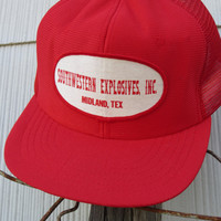Vintage Red Southwestern Explosives Inc Trucker&#x27;s Hat // Vintage Cap // Mesh Hat // MINT Condition