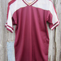 70s Maroon and White Nylon Sports Shirt by Southern Athletic, Men&#x27;s M-L // Vintage Soccer Shirt // Football Shirt
