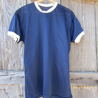 70s Navy Blue Nylon Sports Shirt, Men&#x27;s L // Vintage Soccer Shirt // Gym T-Shirt