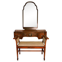 One Kings Lane - The Vintage Bedroom - Hand-Painted  Vanity &amp; Bench