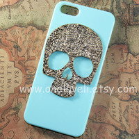 Floral Skull iphone 4 4s 5 case stud iphone 4 4s 5 by OneLoveLi