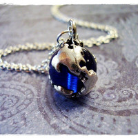 Tiny Sapphire Blue Earth Globe Charm by EvelynMaeCreations on Etsy