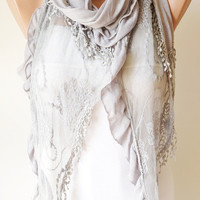 Light Grey  Scarf  from jersey with ruffle tulle