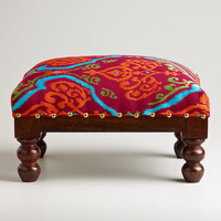 Rectangular Embroidered Upholstery Footstool