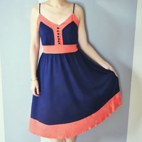 Dolores Color Block Navy Blue Cami Dress