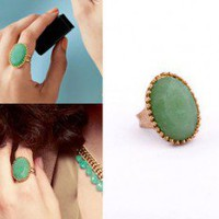 Vintage Inspired Green Gem Dome Ring wholesale