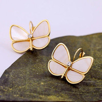 Sweet Natural Shell Butterfly Leverback Earrings wholesale