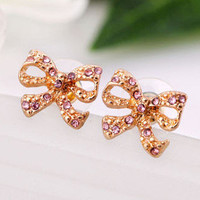 Cute Sweet Pink Rhinestone Bow Stud Earrings wholesale
