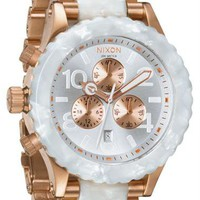 Nixon 42-20 Chrono Rose Gold/White Granite Watch - Cool Watches from Watchismo.com