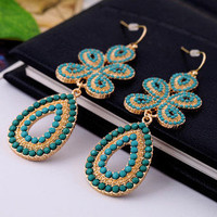 Fashion Boho Style Blue Beaded Long Dangle Earrings wholesale