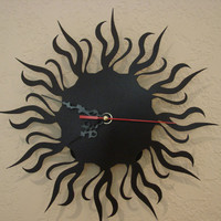 Tribal Flame 16 Gauge Art Deco Metal Wall Clock