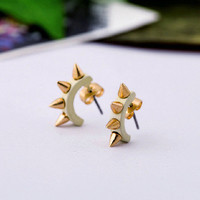 Cool Beige Punk Style Spiked Stud Earrings wholesale