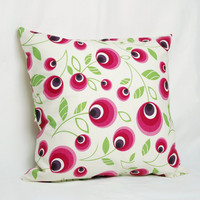 Fuchsia Pink Purple Lime Green Floral Polka Dots Print Decorative Pillow Case , Water and Stain Resistant Cushion Cover