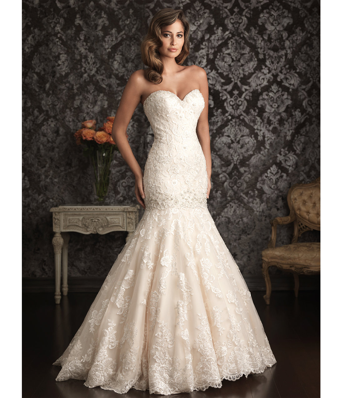 2013 allure bridal ivory silver lace from unique for Ivory mermaid wedding dresses