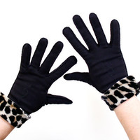 Vintage Black Leopard Print Wristlet Gloves - Mid Century Designer Elvette Fashion Accessories / Wild Animal Print