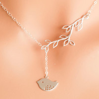 Silver Bird Lariat - mother necklace, silver branch lariat, silver leaf lariat, silver bird necklace, bridesmaid necklace