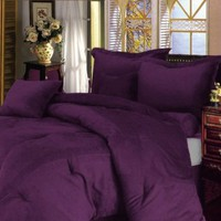 "Chezmoi Collection 7 Pieces Solid Lavender Purple Micro Suede Comforter 90""x92"" bed-in-a-bag Set Queen Size Bed"