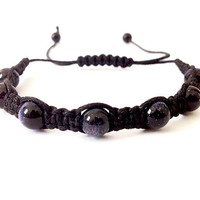 Beaded Stardust Macrame Bracelet (Black and Dark Purple)