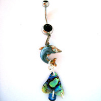 Belly Button Ring Barbell Sterling Silver Dolphin Abalone &amp; Glass Bead OOAK