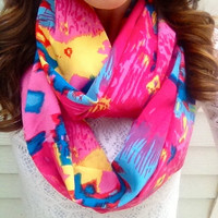 Hot Pink Tribal Infinity Scarf