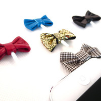 Leather/Fabric Bow iPhone Headphone Plug/ Dust Plug - Cellphone Accessories - 5 Color Options