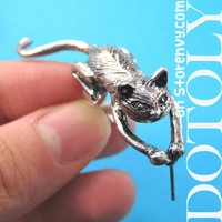 3D Cute Kitty Cat Animal Wrap Ear Cuff in Silver