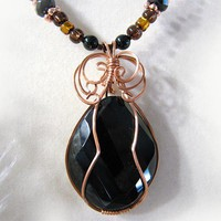 Black Onyx Crystal Copper Glass Beads Wire Wrapped Pendant Necklace