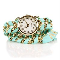 SALE-Mint Chain Wrap Watch