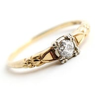 Antique 14K Yellow & White Gold Diamond Ring - Size 6 Vintage Art Deco 1930s Engagement Fine Jewelry / 11 Points