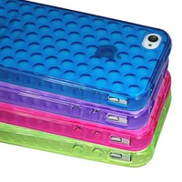 4 Pack Clear Dots Design TPU Soft Gel Case Cover for iPhone 4 4S