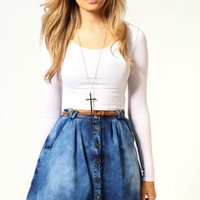Emma Button Front Denim Skirt
