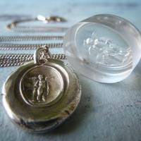 Guardian Little Angel. James Tassie Intaglio Gem Wax Seal Necklace. Wax Seal Antiqued Jewelry