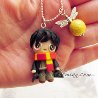Chibi cute Harry Potter polymer clay necklace