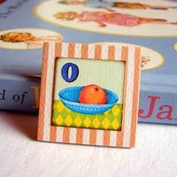 Childs Girls Brooch - Alphabet ABC - O is for Orange - Small Paper and Chipboard Decoupage Pin Badge - Vintage Retro