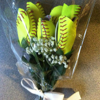 Softball Flowers 6 Custom Made From Quality Leather Softbal Tulip Rose Gift Idea