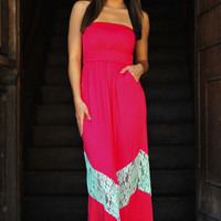 Chevron Forever Maxi Dress: Pink/Mint | Hope's
