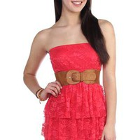 all over lace strapless triple tier skirt day dress - 1000046981 - debshops.com